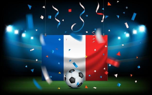 Voetbalstadion met de bal en de vlag van frankrijk. viva la france