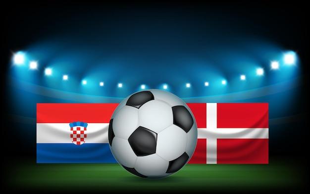 Voetbalstadion met de bal en vlaggen. kroatië vs denemarken
