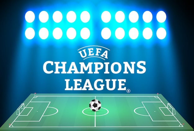 Voetbalstadion met een bal op een voetbalveld en zoeklicht met abstract glitterlicht