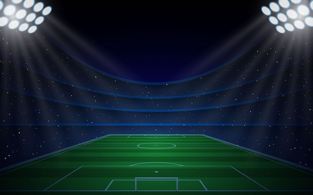 Voetbalstadion met felle lichten