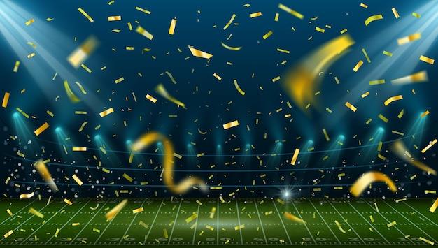Voetbalstadion met gouden confetti. landschap met amerikaans voetbalveld en arenalichten. sport spel winnaar viering vector concept. illustratie stadion met confetti, voetbal sportveld