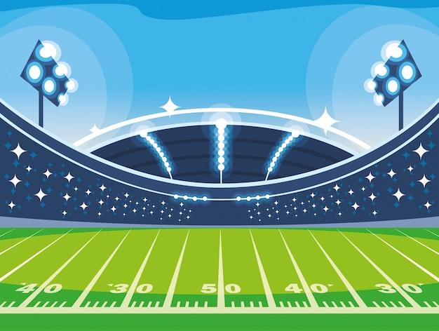 Voetbalstadion met lichten, voetbalspel amerikaan