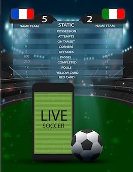 Voetbalstadion met smartphone voetbalveld