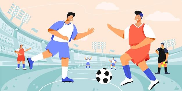 Voetbalstadion-spelersamenstelling met openluchtvoetbalarenalandschap en doodle-personages van spelende teams