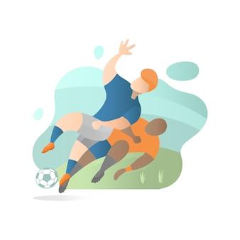 Voetbalster die vlakke illustratie aanpakken