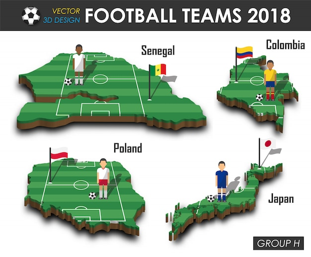 Voetbalster en vlag op 3d kaart van het ontwerpland.