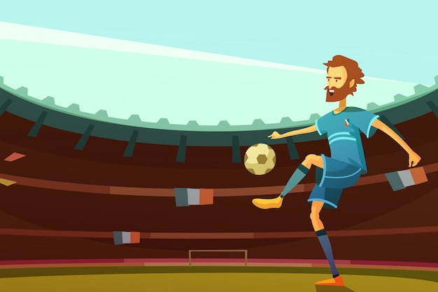 Voetbalster met bal op stadion met de vlaggen van frankrijk op vectorillustratie als achtergrond
