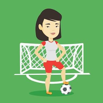 Voetbalster met bal vectorillustratie.