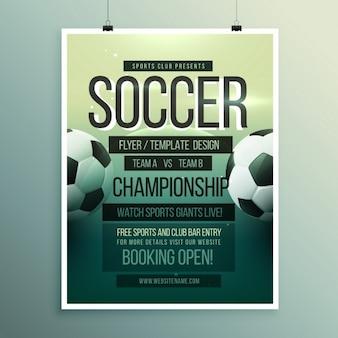 Voetbaltoernooi kampioenswedstrijd flyer brochure sjabloon