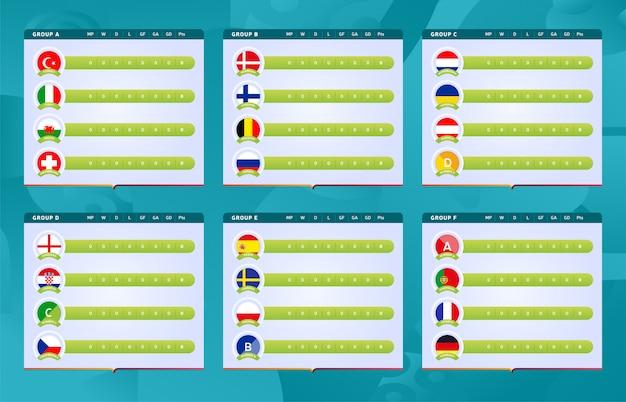 Voetbaltoernooi laatste fase groepen scoretabel of scoreborden sjablonen