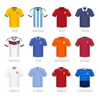 Voetbaluniform of voetbal van nationale teams. argentinië brazilië spanje frankrijk duitsland italië nederland portugal engeland.