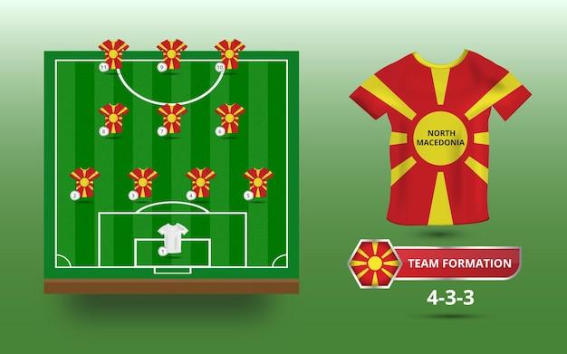 Voetbalveld met illustratie van teamformatie