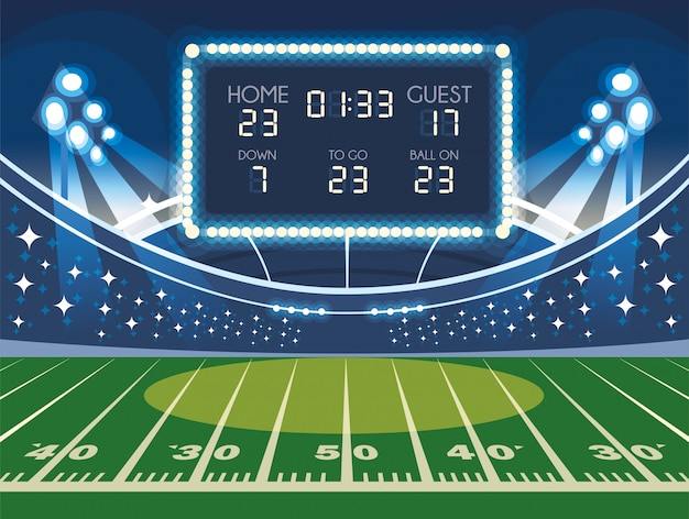 Voetbalveld met scorebord, voetbalstadion