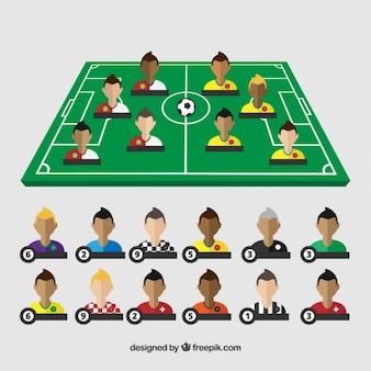 Voetbalveld met spelers
