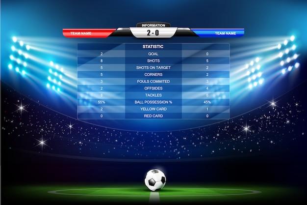 Voetbalveld met voetbal en programma's grafiek