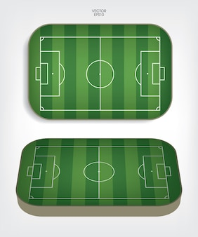 Voetbalveld of voetbalveld achtergrond. groen grasveld voor het maken van een voetbalspel. vector illustratie.