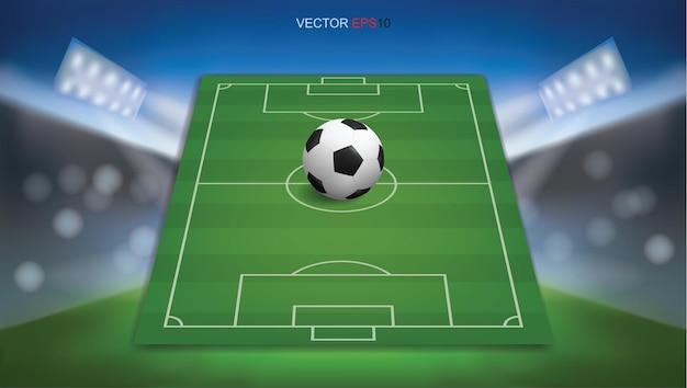Voetbalveld of voetbalveld achtergrond met voetbal bal. groen grasveld voor het maken van een voetbalspel. vector illustratie