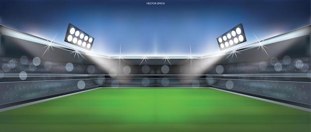Voetbalveld of voetbalveld stadion achtergrond. vector illustratie.