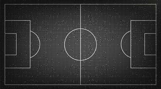 Voetbalveld op digitale technologie achtergrond