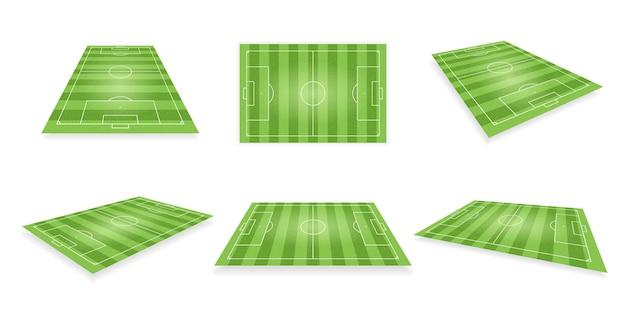 Voetbalveld perspectiefplan lay-out voor voetbalteam spel. stadion, trainingsarena of competitiehof voor verschillende competitiewedstrijd realistische driedimensionale vectorillustratie geïsoleerd op wit