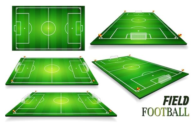 Voetbalveld, voetbalveld ingesteld.
