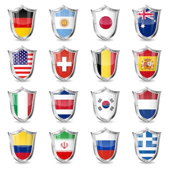 Voetbalvlaggen op schilden