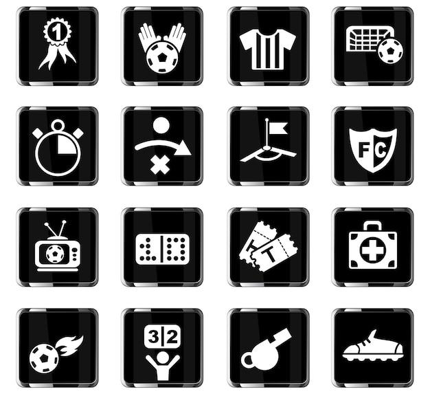 Voetbalwebpictogrammen voor gebruikersinterfaceontwerp
