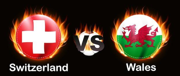 Voetbalwedstrijd championship rivalry 2021 zwitserland en wales
