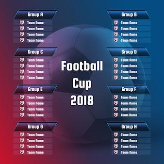 Voetbalwedstrijdschema kampioenschapsgroepen. sjabloon voetbal wereldtoernooi van play-offs in blauwe, paarse en rode kleuren