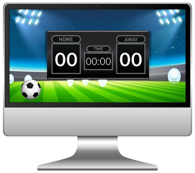 Voetbalwedstrijdscore nieuws op computerscherm geïsoleerd