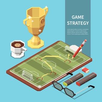 Voetbalwedstrijdstrategie op vel papier geïsoleerd op blauwe 3d isometrische illustratie