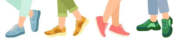 Voeten in stijlvolle sneakers, vectorillustratie