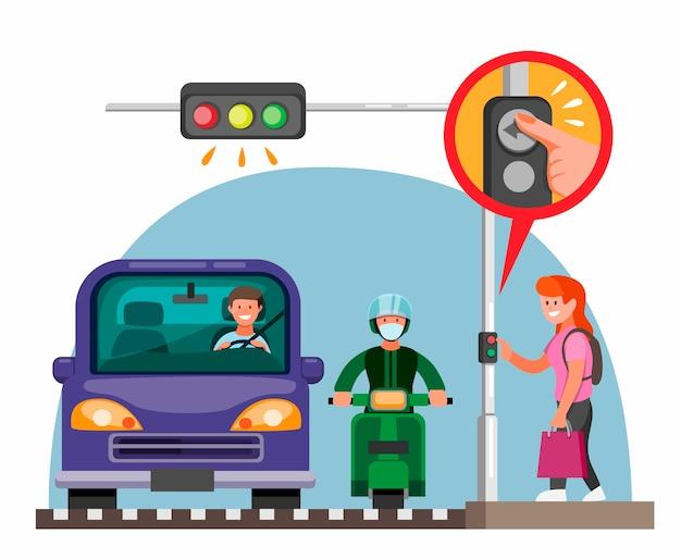 Voetgangers verkeerslicht knop informatie concept in cartoon vlakke afbeelding