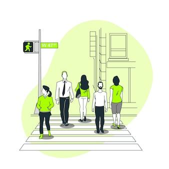 Voetgangersoversteekplaats concept illustratie