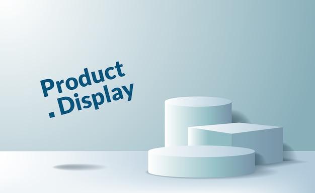 Voetstuk podium van 3d-kubus en cilinder voor reclame voor productplaatsing