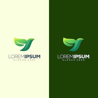 Vogel blad logo ontwerp vectorillustratie