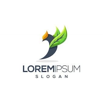 Vogel blad logo ontwerp