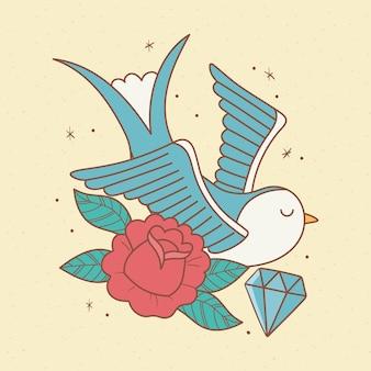 Vogel bloem diamant