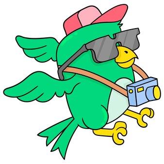 Vogel die camera draagt als professionele fotograaf, vectorillustratieart. doodle pictogram afbeelding kawaii.