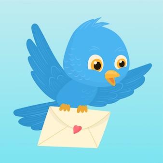 Vogel die een envelop draagt