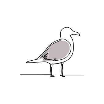 Vogel doorlopende lijn kunst premium vector