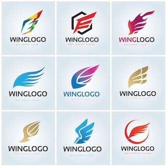 Vogel eagle en wing logo sjabloon.