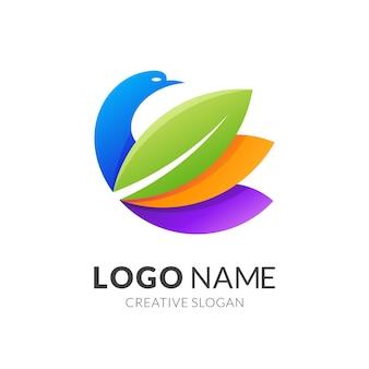 Vogel- en bladlogo, moderne logostijl in levendige kleuren met verloop