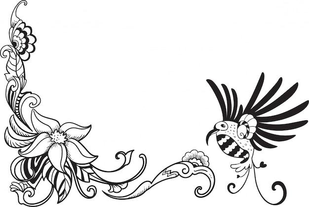 Vogel en bloem lijn kunst grens