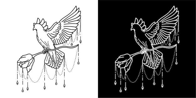Vogel en bloem tattoo ontwerp Premium Vector
