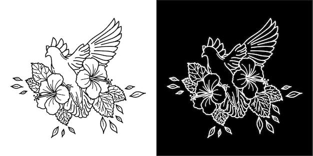 Vogel en bloem tattoo ontwerp