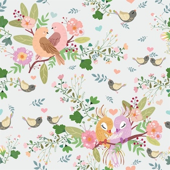 Vogel en bloemen in bos naadloos patroon.