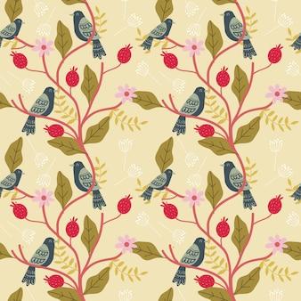 Vogel en bloemen naadloos patroon