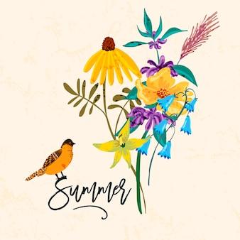 Vogel en bloemen. vintage de zomerillustratie,