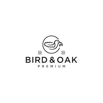 Vogel en eiken logo pictogram illustratie